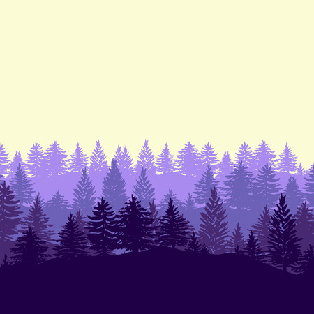 Twilight spruce forest trees silhouettes illustration in purple color. Illustration