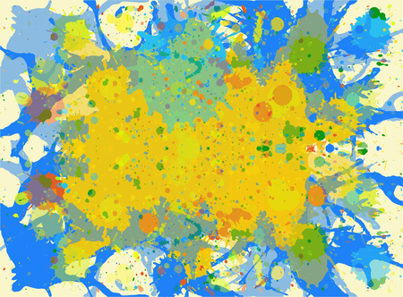 Bright yellow and blue watercolor paint artistic splashes template pattern design.