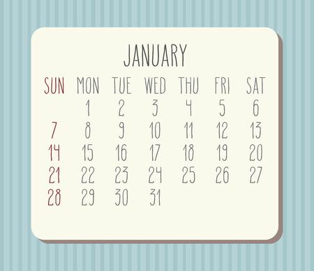 January year 2018 monthly hand drawn calendar. Illustration