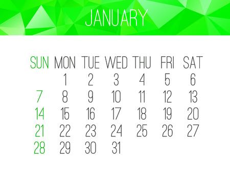 January year 2018 monthly calendar.