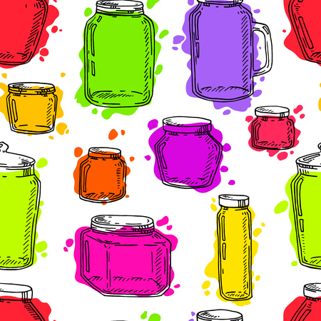 Hand drawn vintage multi-color jars pattern.