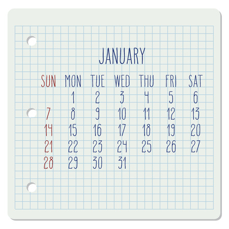 January year 2018 monthly calendar on a squared notebook page. Illustration