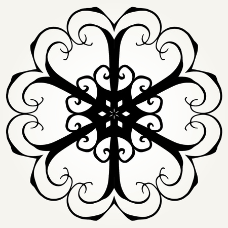 Mandala formed with hand drawn calligraphic elements. Illustration