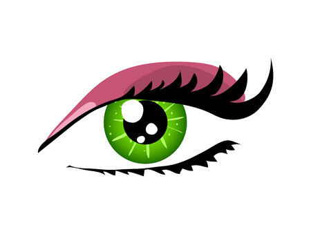 Woman green eye close up  vector illustration isolated over white.