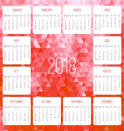Year 2018 monthly calendar.
