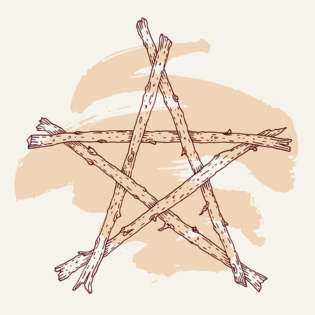 Hand drawn wooden sticks pentagram icon. Illustration