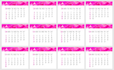 Year 2018 vector monthly calendar. Week starting from Sunday. Contemporary low poly design in pink color.