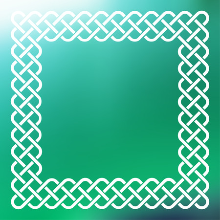 Traditional style braided knot Celtic frame over square abstract smooth blur green background.