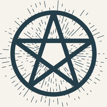 Pentagram icon, magic occult star symbol with rays of light. Vector illustration in dark blue isolated over white. Illustration