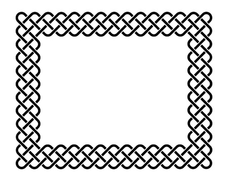 Traditional celtic style braided knot frame, black isolated on white.