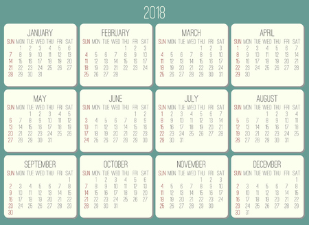 Year 2018 plain contemporary vector monthly calendar. Week starting from Sunday. Beige rounded rectangle over teal green background.