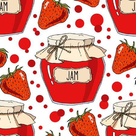 Strawberry jam jars and berries seamless pattern. Vector hand drawn background illustration in red and white. Ilustração