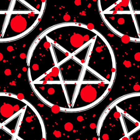 Reversed pentagram seamless pattern, brush drawing magic occult star symbol with red blood splatter drops over black. Vector background illustration.