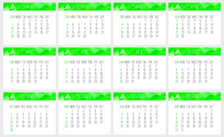 Year 2018 vector monthly calendar. Week starting from Sunday. Contemporary low poly design in green color.