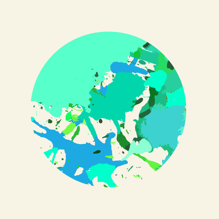 Bright colorful green and blue artistic paint splashes in a circle. Illustration