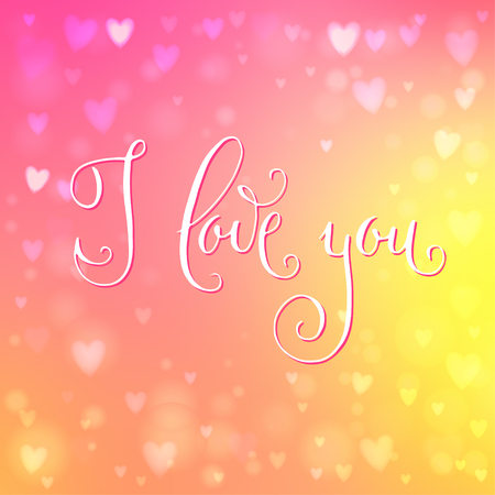 Square abstract blur yellow and pink background with heart-shaped lights over it and hand written  I love you words.