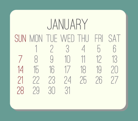 January year 2018 plain contemporary vector monthly calendar. Week starting from Sunday. Beige rounded rectangle over teal green background. Illustration