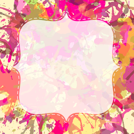 Template with semi-transparent white vintage frame over bright colorful pink and orange artistic paint splashes, ready for your text.