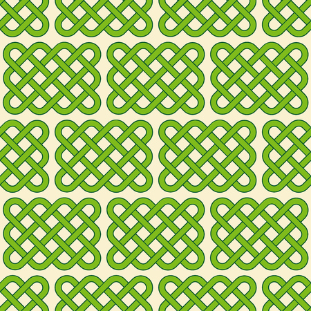 Traditional green celtic style braided knots seamless pattern. Irish St. Patricks day vector background. Illustration