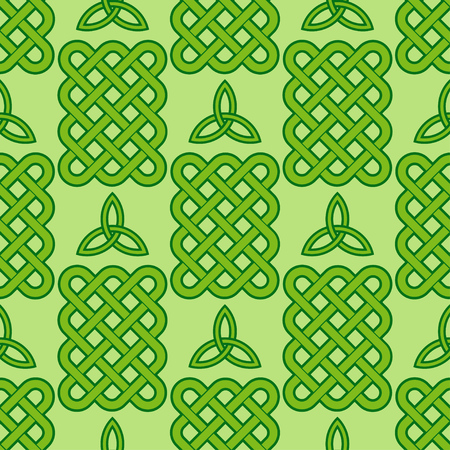 Traditional green celtic style braided knots and triquetra symbol seamless pattern. Irish St. Patricks day vector background.