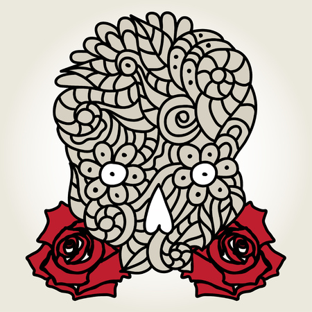 Day of The Dead doodle skull with floral ornament and red roses. Illustration