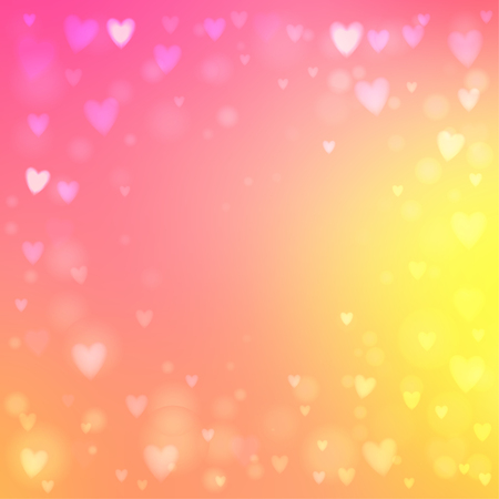 Abstract square blur pink and yellow background with small heart-shaped lights over it. Çizim