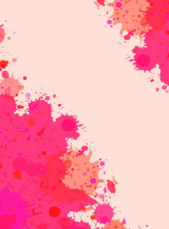 Vibrant bright pink watercolor artistic splashes frame with room for text. Vector illustration, vertical format. Illustration