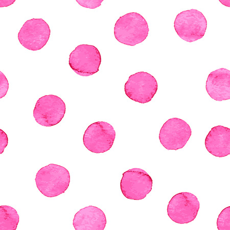Seamless hand drawn watercolor pattern made of round pink dots, isolated over white.  イラスト・ベクター素材