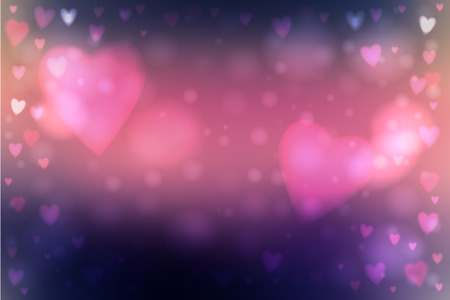 Abstract smooth blur dark blue and pink background with heart-shaped lights over it.