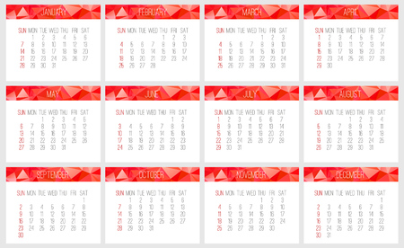 Year 2018 vector monthly calendar. Week starting from Sunday. Contemporary low poly design in vibrant red color. Illustration
