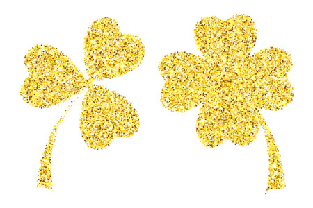 Gold glitter clover leaves vector illustration isolated over white. St. Patricks day objects.