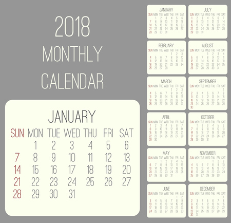 Year 2018 plain contemporary vector monthly calendar. Week starting from Sunday. Beige rounded rectangle over gray background. Illustration