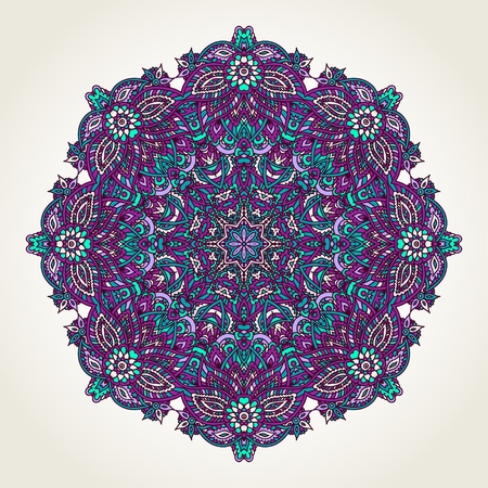 Ornate lacy doodle floral round rosette over white backgrounds. Hand drawn teal, blue and purple mandala. Illustration
