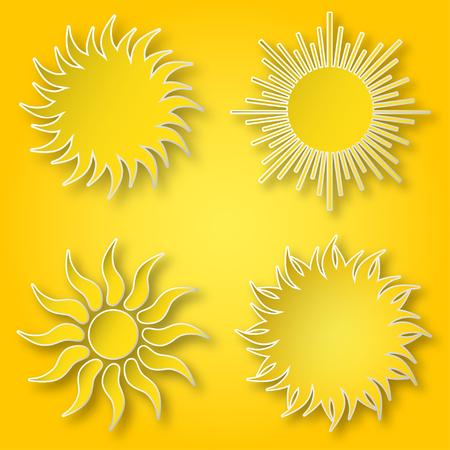 黄色のベクトル紙のセットは、空に輝く太陽のアイコンを明るく輝かします。