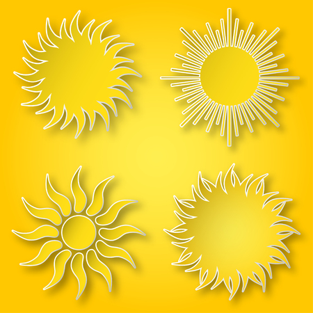 Set of yellow vector paper bright shining suns icons on the sky.