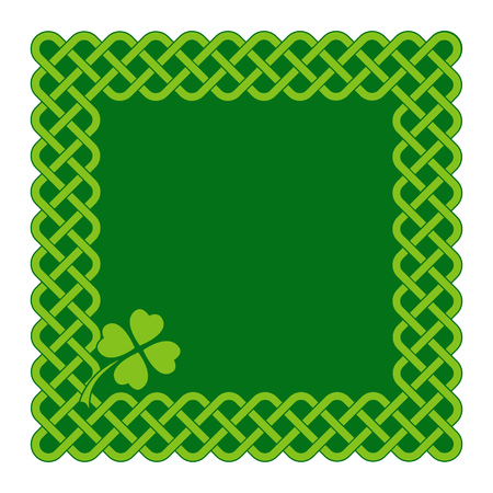 Traditional green celtic style braided knot frame with clover leaf. Irish St. Patrick's day vector background. Stock Illustratie