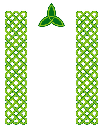 Traditional green celtic style braided knot borders with triquetra symbol isolated over white. Irish St. Patricks day vector background.