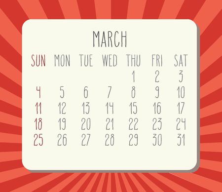 Year 2018 March vector calendar. Illustration