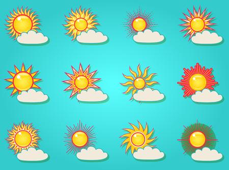 青空に雲が輝く夏の明るい太陽のセット。