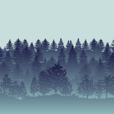 Summer twilight forest trees silhouettes 일러스트