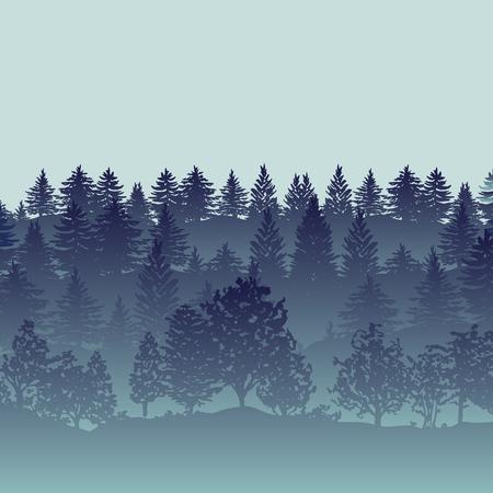 Summer twilight forest trees silhouettes Stock Illustratie