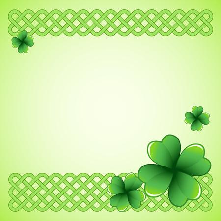 Light green Saint Patrick's Day frame with four-leaf clover shamrock leaves. Illustration