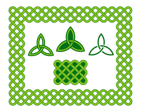 Traditional green Celtic style braided knot frame and triquetra design elements isolated over white.
