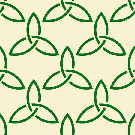 Traditional green Celtic style braided knots triquetra symbols seamless pattern.