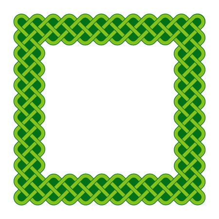 Traditional green Celtic style braided knot square frame isolated over white.