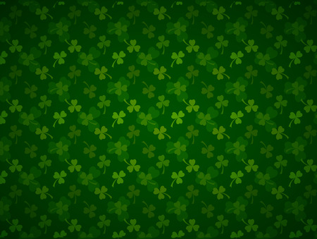 Rich green Saint Patrick's Day background with four-leaf clover shamrock leaves pattern.