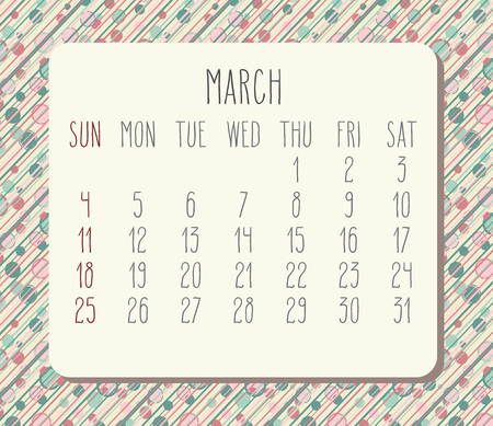 Year 2018 March vector calendar. Hand drawn over pastel colored polka dot background. Week starting from Sunday.
