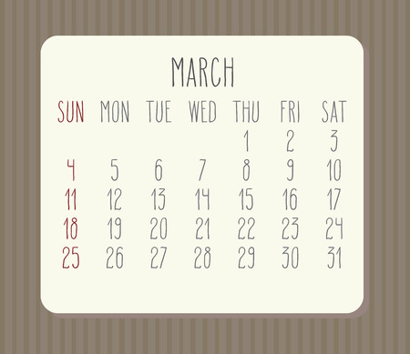 Year 2018 March vector hand drawn calendar. Week starting from Sunday.