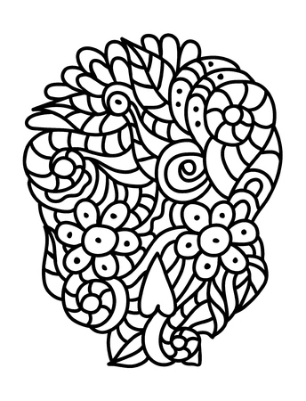 Day of The Dead doodle skull with floral ornament in black and white.