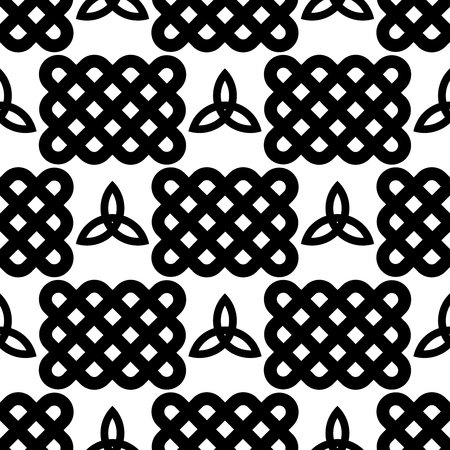 Traditional Celtic style braided knots and triquetra symbols seamless pattern.